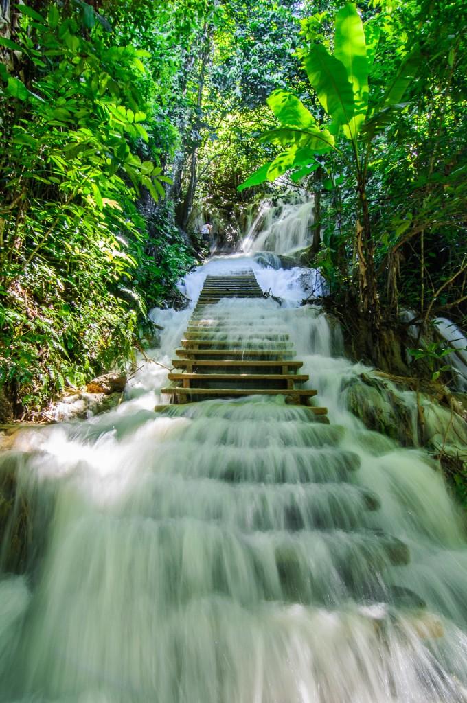 Ladder At Kuang Si Waterfall Luang Prabang Laos (Водопад и медвежий заповедник Kuang Si, Луанг-Прабанг, Лаос.)