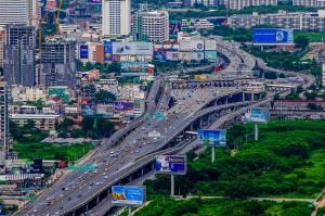 Pay Roads Of Bangkok As Seen From Bayoke 2 Tower (Baiyoke Tower II. Самое высокое здание Таиланда.)