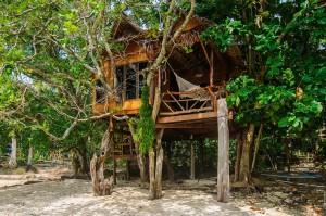 Бунгало на дереве на пляже (Поездка на Пхи-Пхи Дон.)