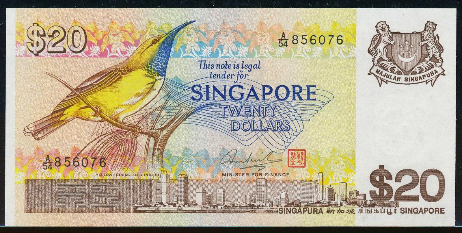 20 singapore dollars banknote